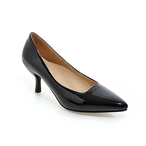 Balamasa Dames Puntig Toelopende, Laag Uitgesneden Bovendeel Laklederen Pumps-schoenen Zwart