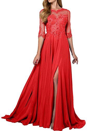 Damen 4 Bodenlang 3 Abendkleider La Spitze Rot Kleider Marie Jugendweihe Brautmutterkleider Langarm Braut xEpnxPIRZq