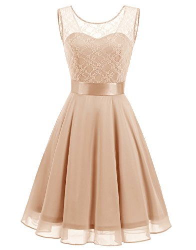 BeryLove Women's Short Floral Lace Bridesmaid Dress A-line Swing Party Dress BLP7005ChampagneL