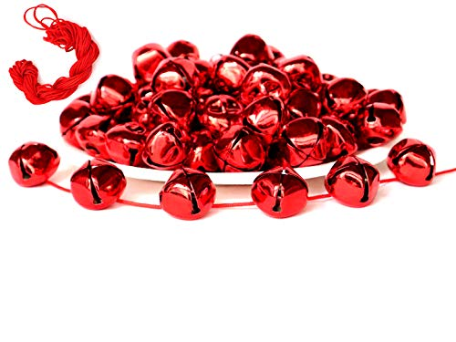 100Pack 1 Inch Red Jingle Bells Christmas Craft Bells Red Bells for Christmas & Party & Festival Decorations with 27m Red Cord