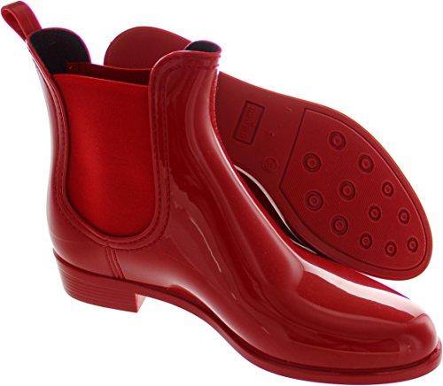 Women's Comfy Wellington Jelly Boots Lemon Red qgwEzw