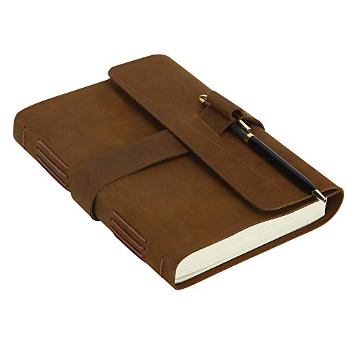 (Handmade Leather Journal Sketchbook - Antique Rustic Personal Diary Sketchbook Daily Travel Notepad for Men and Women, Unline Blank Paper - 7.5 X 5.5 Inches)