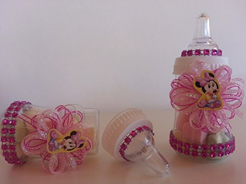 12 Minnie Mouse Pink Fillable Bottles Baby Shower Favors Prizes Girl Decorations by Product789 (Image #2)