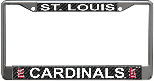 St Louis Cardinals Carbon Fiber Design LASER FRAME Chrome Metal License Plate Tag Cover (Louis Cardinals Fiber)