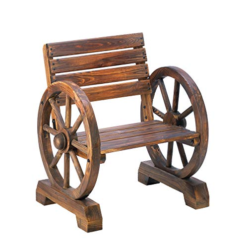 Koehler Home Outdoor Garden Yard Decorative Wagon Wheel Armrest Relaxing Charming Wood Chair