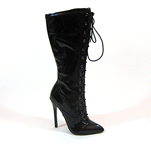 PU Stretch US Up Black Women's M Lace Highest 8 61 Fierce Boot Patent Heel w6qgxfvB