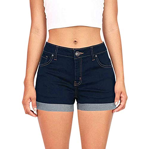 - FIRERO Women Low Waisted Solid Short Jeans Denim Pants Shorts Black