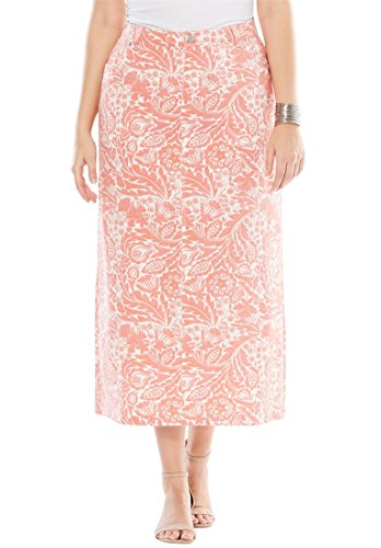 's Plus Size Classic Cotton Denim Long Skirt Floral ()