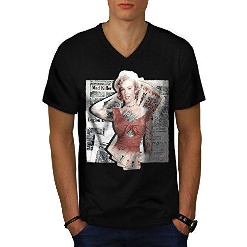 Monroe Ace Diva Celebrity Casino Life Men M V-Neck T-shirt | Wellcoda