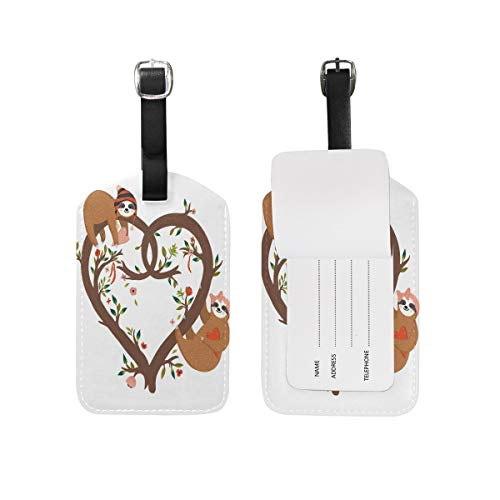 jiebokejiHFGD Sloth Heart Shaped Tree Luggage Tags PU Leather Bag Suitcases Baggage Label 2 Pieces Set