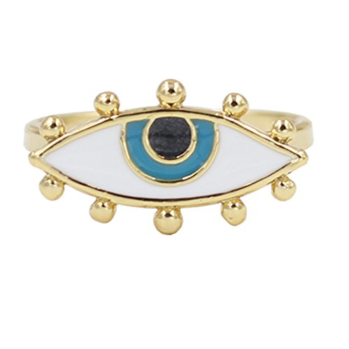 Darget Turkish Evil Eye Cats Eye Gold Plated Faith Protection Lucky Jewelry for Women and Girls (Evil Eye Lucky Pendant Ring)