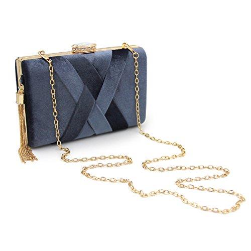 et main sacs sacs de les soir flada mariage grey à tassel collier flanelle vert embrayages mesdames xH8qwXdYq