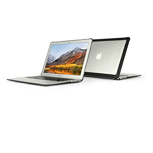 MAX Cases Extreme Shell 2 Case for MacBook Air 13 - Clear with Black Bumpers - Tough / Rugged Design and Perfect for Customization