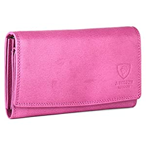 Ladies Rfid Protection Real Leather Purse Card Women Wallet Zip Coin Pocket