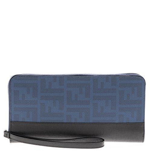 Fendi Men's Zip Around Zucca Wallet, Cobalt