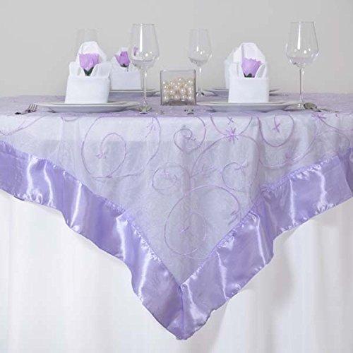 tableclothsfactoryラベンダーオーガンザ刺繍テーブルオーバーレイ72