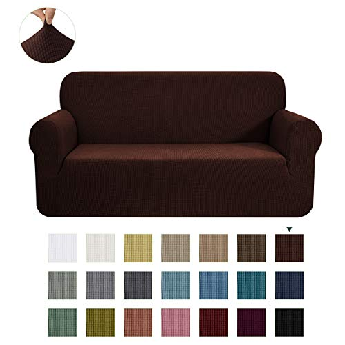CHUN YI 1-Piece Jacquard Stretch XL Sofa Slipcover, Furniture Protector Cover for Sofa and Couch Polyester and Spandex 4 Seater Cushion Settee Cover Coat (XL Sofa, Chocolate)