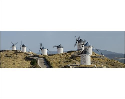 10x8 Print of Don Quixote windmill panorama, Consuegra, Castile-La Mancha, Spain, Europe (12398020)