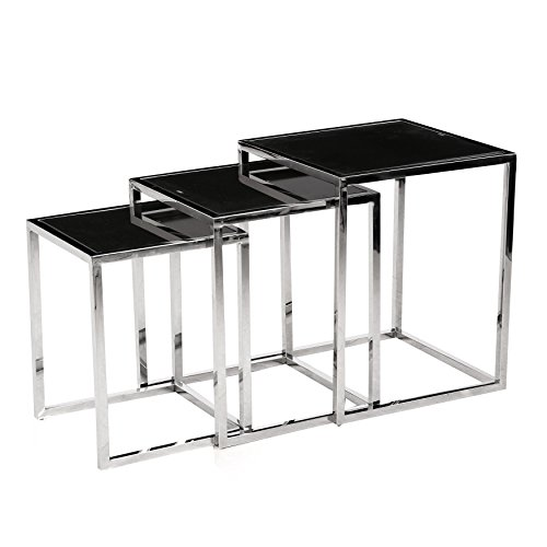 [Bella Esprit Chrome Metal 3-piece Nesting Table with Black Glass Tops] (Black Glass Nesting Tables)