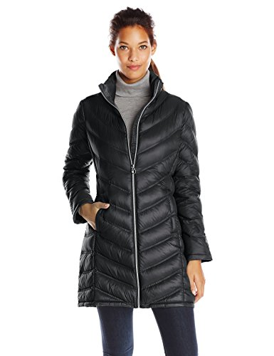 Calvin Klein Women's Chevron Packable Down Coat, Black, (Calvin Klein Womens Jacket)