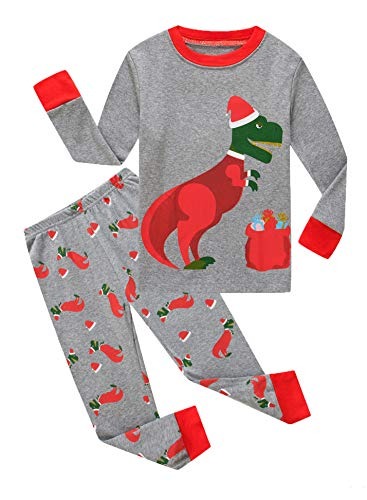 Family Feeling Little Boys Girls Long Sleeve Christmas Pajamas Sets 100% Cotton Pyjamas Kids Pjs Size 5 Dinosaur]()