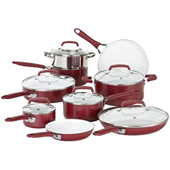WearEver C943SF Pure Living Nonstick Ceramic Coating Scratch Resistant PTFE PFOA and Cadmium Free Dishwasher Safe Oven Safe Cookware set, 15-Piece, Red