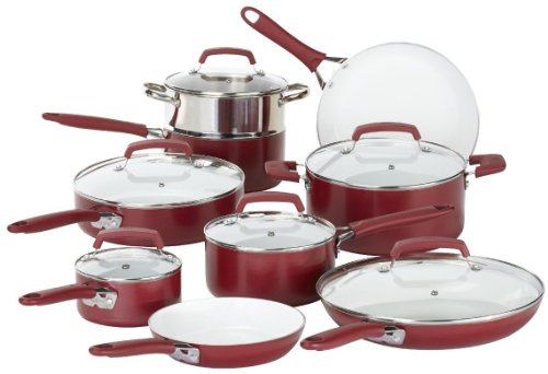 WearEver C943SF Pure Living Nonstick Ceramic Coating Scratch Resistant PTFE PFOA and Cadmium Free Dishwasher Safe Oven Safe Cookware set, 15-Piece, Red by WearEver
