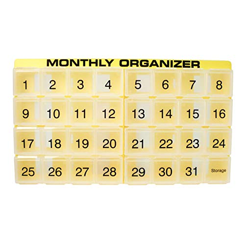 Day 31 Supply (31 compartments, 1 per Day, 4 Week Monthly Pill Organizer by Promed. Includes Tray and 8 Removable compartments. (Yellow))