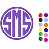 Circle Monogram Vinyl Decal Sticker - Custom Cut with Your Initials, Color & Size - Gloss, Outdoor Use for Car Windows & Cups