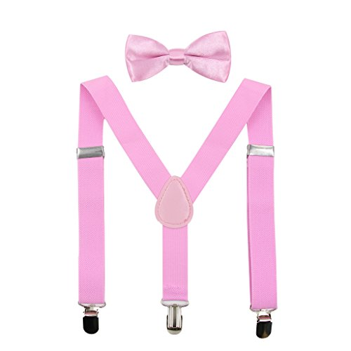 Hanerdun Kids Suspender Bowtie Sets Adjustable Suspender With Bow Ties Gift Idea For Boys And Girls, Pink, One Size