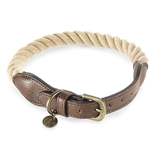 Embark Pets Zion Dog Rope Collar (Extra Small/Small, Beige)