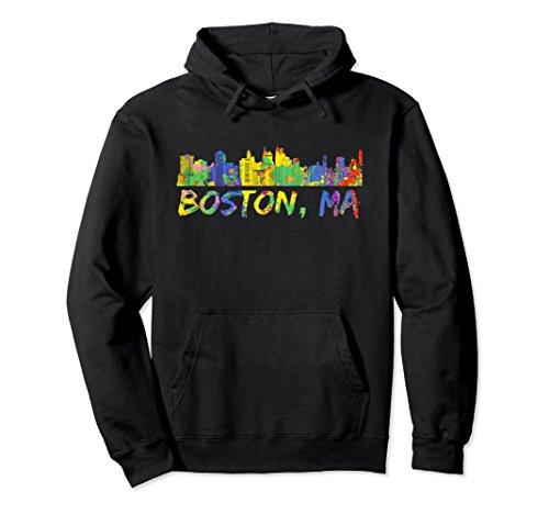 Unisex Boston Hoodie Massachusetts Skyline Paint Splash Sweatshirt XL: Black Boston Design Studio
