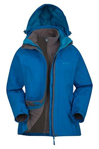 Mountain Warehouse Storm 3 in 1 Women's Waterproof Jacket - Detachable Fleece Turquoise 8
