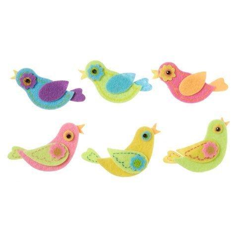 Darice Bulk Buy DIY Kids Felties Felt Stickers Folk Birds 14 Pieces (3-Pack) FLT-2782