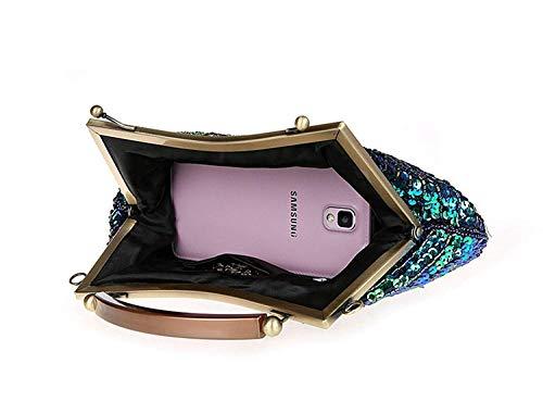 Yisaesa sera 11x8x7inch dimensioni mano perline a per matrimoni fatte da 28x20x17cm B D paillettes colore borsa con Pochette E56xpqawx