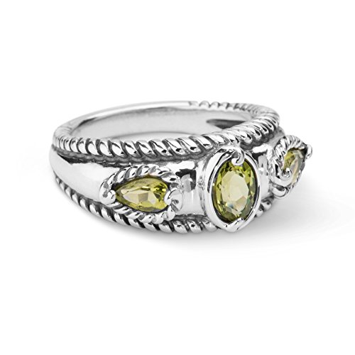 Band Peridot Ring - Carolyn Pollack Sterling Silver Peridot Band Ring,  size 8