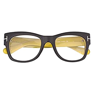 Oversized Square Thick Horn Rimmed Clear Lens Eye Glasses Frame Non-prescription (Black Yellow, Clear)
