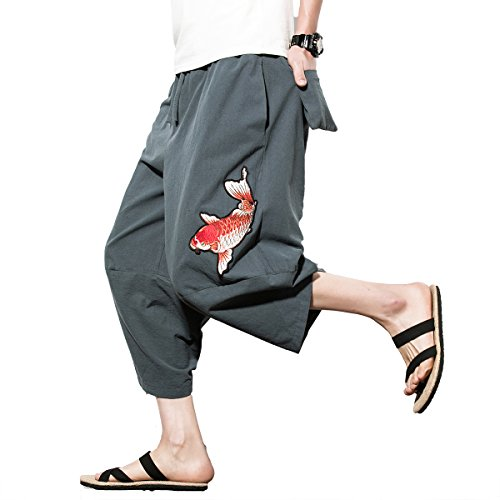 INVACHI Mens Casual Elastic Waist Linen Capri Wide Leg Baggy Harem Pants Trousers