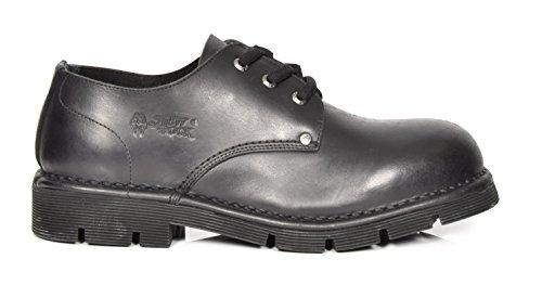 Leder Militär New Zeh Schwarz Schnürsenkel Schuhe Stil Rock Runder Blockabsatz TXBBvxwq
