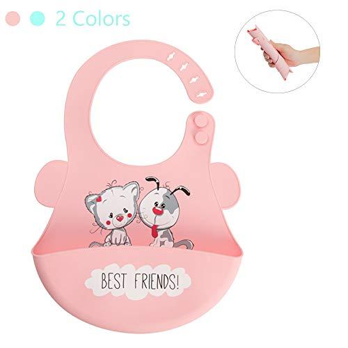 Baby Bib Easy Clean Girl Boy Silicone Bibs Adjustable With Big Roll Up Waterproof Soft Pocket