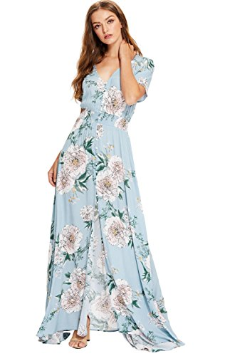 Milumia Women's Button Up Split Floral Print Flowy Party Maxi Dress X-Large Blue