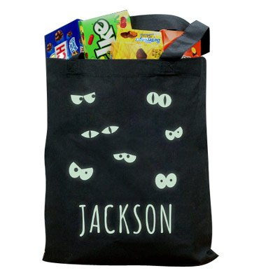 GiftsForYouNow Glow In The Dark Halloween Personalized Trick or Treat Bag