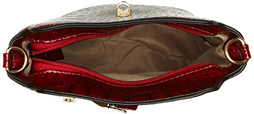 SwankySwansCharlotte Croc Patent Leather Shoulder Bag Red - Bolso bandolera mujer Rojo (Red)