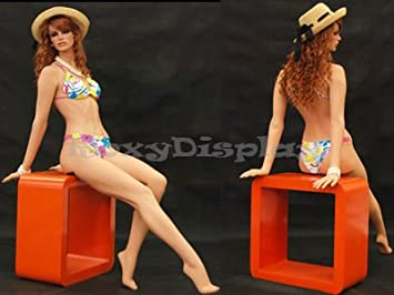 sitting pose with upper body leaned back MD-FR6 hands supporting the body ROXYDISPLAY/™ Female mannequin and face turned to the right.