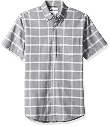 fit Windowpane Regular Camicia Gre sleeve Short Amazon Essentials grey Grigio Pocket qHS7wEO5