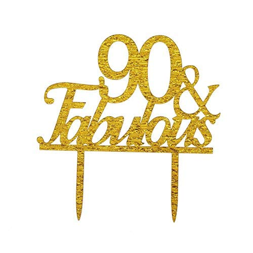 Glitter Gold Acrylic 90 & Fabulous Cake Topper, 90th Birthday Party Cupcake Topper Decoration (90, -