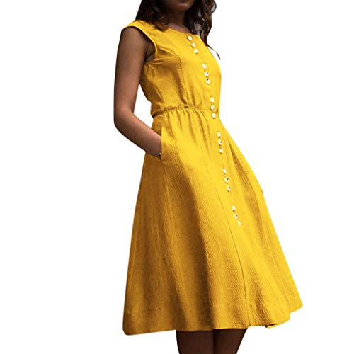 - Alangbudu Women Sleeveess Tank Botton Down T-Shirt Flare A Waistline Plain Loose Midi Puffy Swing Party Dress with Pocket Yellow
