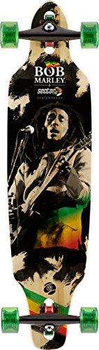 Sector 9 - Bob Marley Jamming Complete 38 Inch Bamboo Drop Through Longboard for Carving and Commuting (Wall Shelf Surfboard)