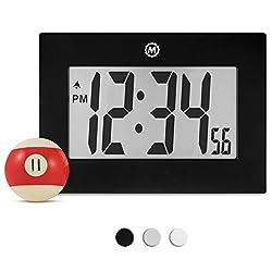 MARATHON CL030064BK 9 Large Digital Frame Clock with 3.25 Digits - Batteries Included (Black)