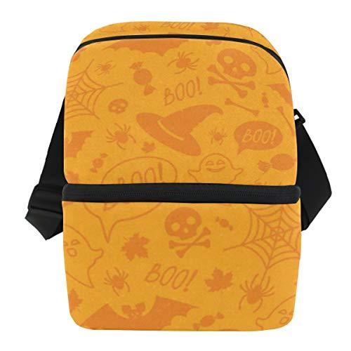 Lunch Bag Halloween Orange Pumpkins Portable Cooler Bag Mens Leakproof refrigerator Storage Zipper Tote Bags for -
